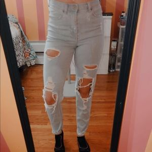 Express High Waisted Ripped Jeans